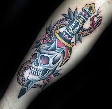 Snake Forearm - mens dagger snake and traditional skull forearm