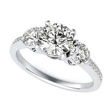 three stone engagement rings three stone engagement ring with heart basket and diamond shank