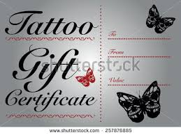 butterfly skull tattoo gift card gift stock vector 257876885