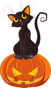black cat sitting on halloween pumpkin royalty free cliparts