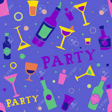 seamless background illustration of cocktail party related items