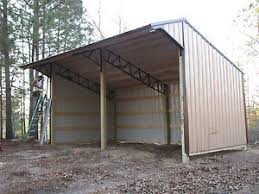 Steel Pole Barn 16x24 Run In Shelter Loafing Shed With Steel Truss And Metal