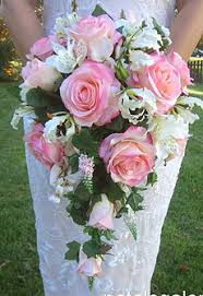 Pew Clips Cascading Rose Bouquet Placed In Pew Clips For The Church Perfect