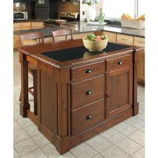 Stationary Kitchen Island by Home Styles Aspen Rustic Cherry Kitchen Island With Granite Top