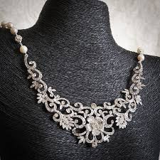 silver flower statement necklace images Fabiona bridal necklace victorian crystal bridal bib necklace jpg