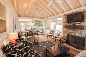 Hearth And Patio Nashville Light And Airy Screened Porch With Stone Veneered Fireplace