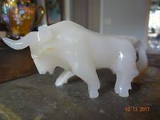 Alabaster Stone Carved Bull Home by Marble Bull Figurine Ebay