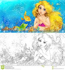 cartoon mermaid in the sea with coloring page stock illustration