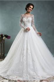 wedding dresses with sleeves gown illusion neckline sleeve tulle lace wedding dress