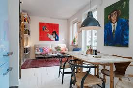 living room and dining room together swedish apartment as an example of scandinavian style