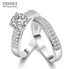 two engagement ring 2017 yanhui new trendy real 18k white gold filled two engagement