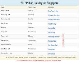 Kalender 2018 Hari Raya Puasa 2017 Singapore Holidays Calendar
