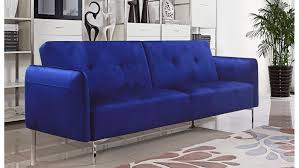 Tufted Modern Sofa by Arie Tufted Fabric Sofa Bed With Chrome Legs Cobalt Blue Zuri