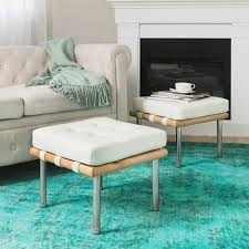 overstock ottoman coffee table andalucia modern cream leather ottoman set of 2 free shipping