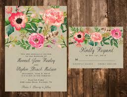 floral wedding invitations printable watercolor floral wedding invitation set printable