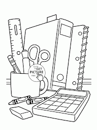 supplies coloring page for children back to