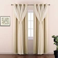 amazon com nicetown double layer mix u0026 match dressing beige sheer