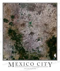 Mexico City Mexico Map by Mexico City Satellite Map Print Aerial Image Poster