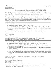 Stoichiometry Practice Worksheet Answer Key Stoichiometric Calculations Worksheet Key Mole Unit