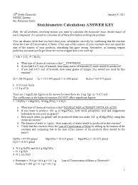 stoichiometric calculations worksheet key mole unit