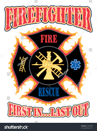 firefighter first design illustration flaming firefighter stock