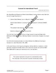 child travel consent canada legal templates agreements