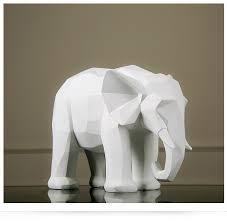 nordic geometry origami black and white elephant figurine