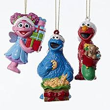 sesame muppet ornament set featuring 6 elmo