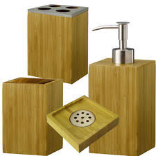 bamboo bath accessory sets with soap dishes u0026 dispensers ebay