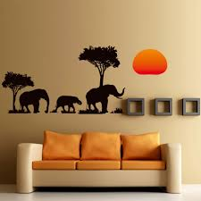 Namaste Home Decor by Jungle Wild Cartoon New Arrival Tree Elephant Sunset Removable