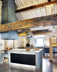 cool modern rustic kitchen decor with white countertop and hanging