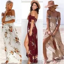 2017 casual dresses boho style long dress women off shoulder beach