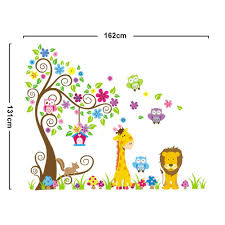 rainbow fox wall decal jungle forest lion and giraffe squirrel
