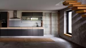 cuisine effet beton carrelage effet bton cir et plancher en bois dans une aire ouverte