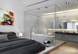 white wall paint with black grey bedding bed combined by glazed