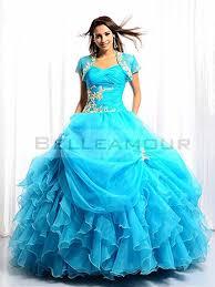 robe de mari e bleue de mariée bleu ballon volant organza appliques longue plis