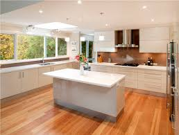 modern white kitchen wood floor interior design