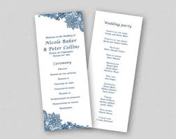 Diy Wedding Ceremony Program Blue Wedding Program Etsy