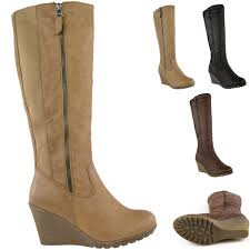 boots uk wide calf womens wedge heel knee high mid calf wide leg elastic