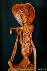 wood carving sculpture krishna upon lotus w cobra statue balinese wood