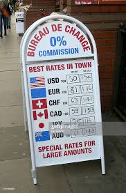 bureau de change a bureau de change sign exchange rates charing cross stock photo