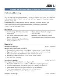 for hotel industry resume