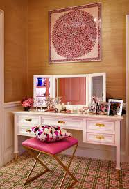 Pink Vanity Table Mirrored Dressing Table With White And Pink Slipper Chair French