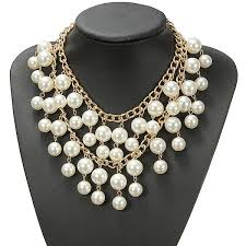 occident style multilayer alloy pearl chain necklace us