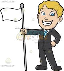 Holding The Flag A Proud Man Holding A White Flag Cartoon Clipart Vector Toons