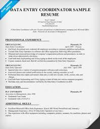 Coordinator Resume Objective Data Entry Coordinator Resume Sample Resumecompanion Com