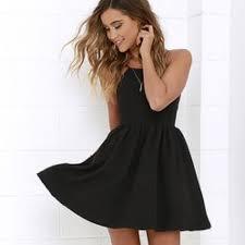 black skater dress lulu s chic freely black backless skater dress from s