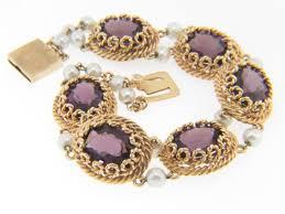pearl bracelet with yellow gold images Vintage lucien piccard oval amethyst pearl designer bracelet in jpg