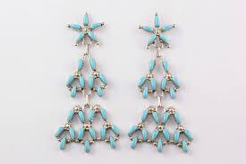 turquoise drop earrings zuni needlepoint turquoise drop earrings by alrick waikeniwa