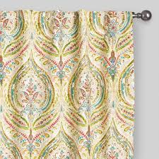 Teal And Yellow Curtains Multicolor Ogee Concealed Tab Top Curtains Set Of 2 World Market